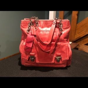 Coach Poppy Leather Chain Tote